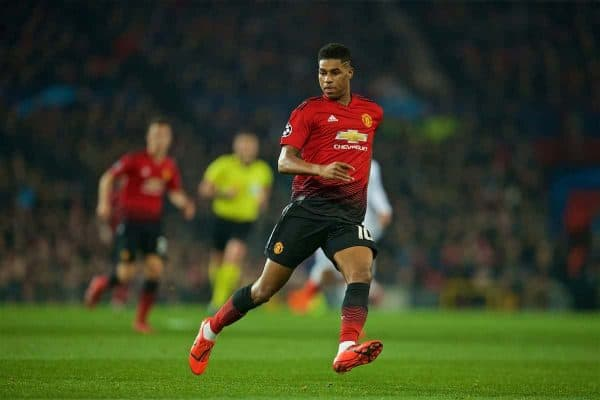 MANCHESTER, ENGLAND - Tuesday, February 12, 2019: Manchester United's Marcus Rashford during the UEFA Champions League Round of 16 1st Leg match between Manchester United FC and Paris Saint-Germain at Old Trafford. (Pic by David Rawcliffe/Propaganda)
