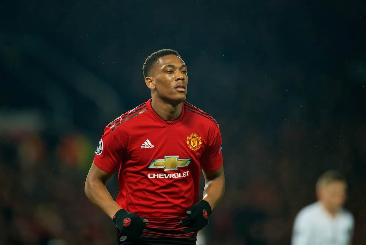 MANCHESTER, ENGLAND - Tuesday, February 12, 2019: Manchester United's Anthony Martial during the UEFA Champions League Round of 16 1st Leg match between Manchester United FC and Paris Saint-Germain at Old Trafford. (Pic by David Rawcliffe/Propaganda)