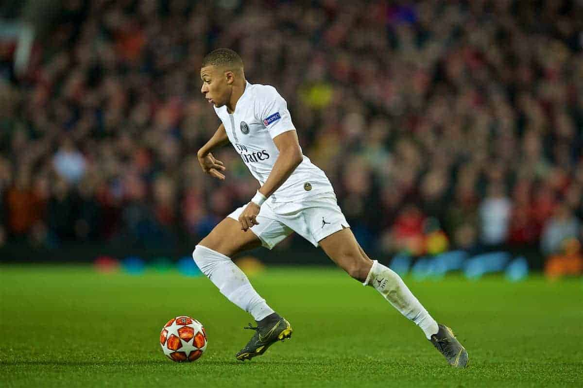 MANCHESTER, ENGLAND - Tuesday, February 12, 2019: Paris Saint-Germain's Kylian Mbappé during the UEFA Champions League Round of 16 1st Leg match between Manchester United FC and Paris Saint-Germain at Old Trafford. (Pic by David Rawcliffe/Propaganda)
