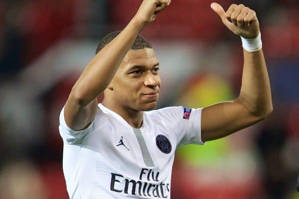 MANCHESTER, ENGLAND - Tuesday, February 12, 2019: Paris Saint-Germain's goal-scorer Kylian Mbappé celebrates after the UEFA Champions League Round of 16 1st Leg match between Manchester United FC and Paris Saint-Germain at Old Trafford. PSG won 2-0. (Pic by David Rawcliffe/Propaganda)