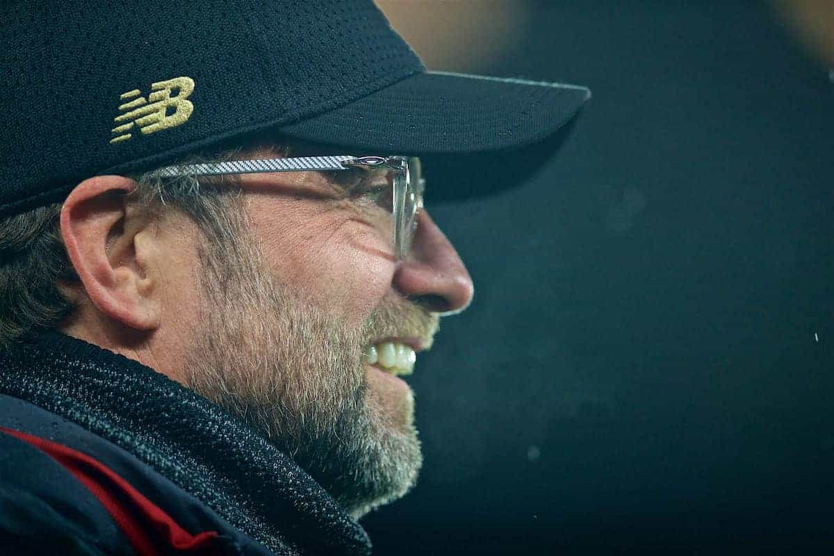 Liverpool's manager Jürgen Klopp before the UEFA Champions League Round of 16 1st Leg match between Liverpool FC and FC Bayern München at Anfield. (Pic by David Rawcliffe/Propaganda)