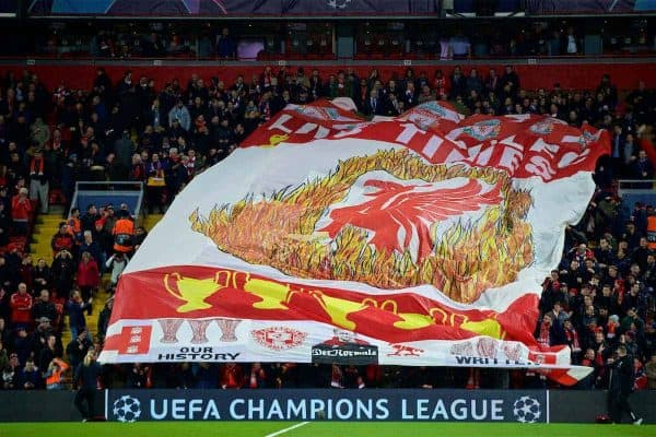"""A huge Liverpool flag, featuring a Liverbird surrounded by flames and five European Cups """"Five Times"""" during the UEFA Champions League Round of 16 1st Leg match between Liverpool FC and FC Bayern München at Anfield. (Pic by David Rawcliffe/Propaganda)"""