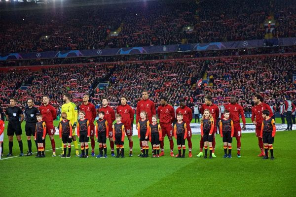 LIVERPOOL, ENGLAND - Tuesday, February 19, 2019: Liverpool players line-up with mascots before the UEFA Champions League Round of 16 1st Leg match between Liverpool FC and FC Bayern München at Anfield. (Pic by David Rawcliffe/Propaganda)