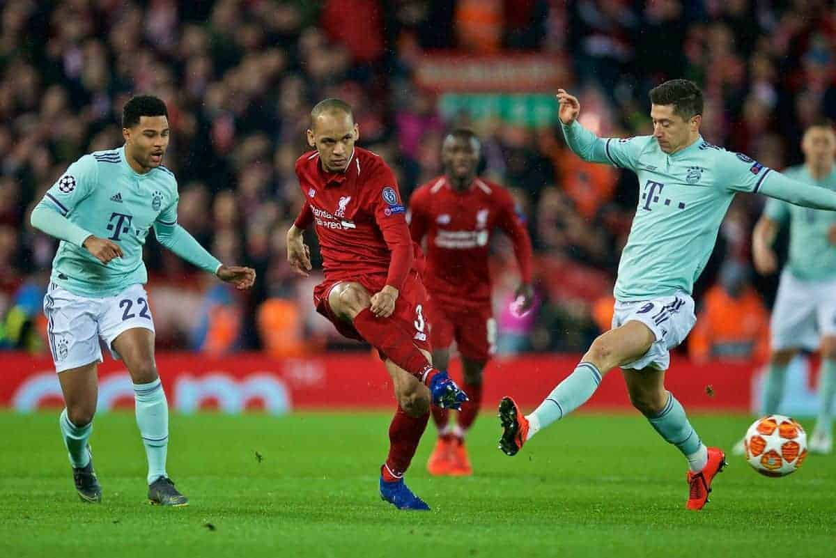 LIVERPOOL, ENGLAND - Tuesday, February 19, 2019: Liverpool's Fabio Henrique Tavares 'Fabinho' shoots during the UEFA Champions League Round of 16 1st Leg match between Liverpool FC and FC Bayern M¸nchen at Anfield. (Pic by David Rawcliffe/Propaganda)