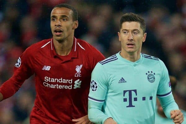 LIVERPOOL, ENGLAND - Tuesday, February 19, 2019: Liverpool's Joel Matip (L) and FC Bayern Munich's Robert Lewandowski during the UEFA Champions League Round of 16 1st Leg match between Liverpool FC and FC Bayern M¸nchen at Anfield. (Pic by David Rawcliffe/Propaganda)