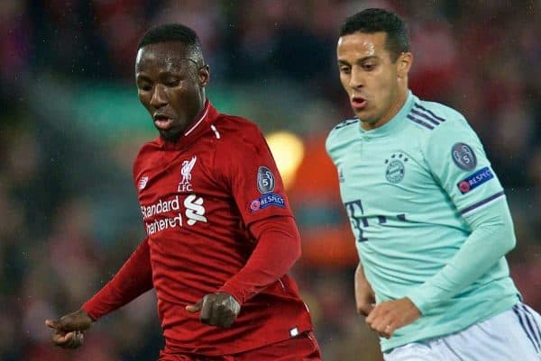 Liverpool's Naby Keita (L) and FC Bayern Munich's Thiago Alc·ntara during the UEFA Champions League Round of 16 1st Leg match between Liverpool FC and FC Bayern M¸nchen at Anfield. (Pic by David Rawcliffe/Propaganda)