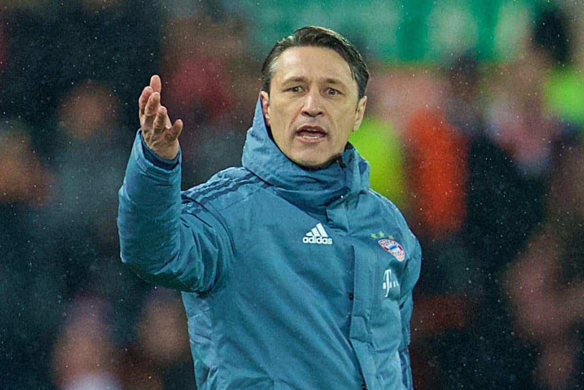 LIVERPOOL, ENGLAND - Tuesday, February 19, 2019: FC Bayern Munich's head coach Niko Kova? reacts during the UEFA Champions League Round of 16 1st Leg match between Liverpool FC and FC Bayern M¸nchen at Anfield. (Pic by David Rawcliffe/Propaganda)