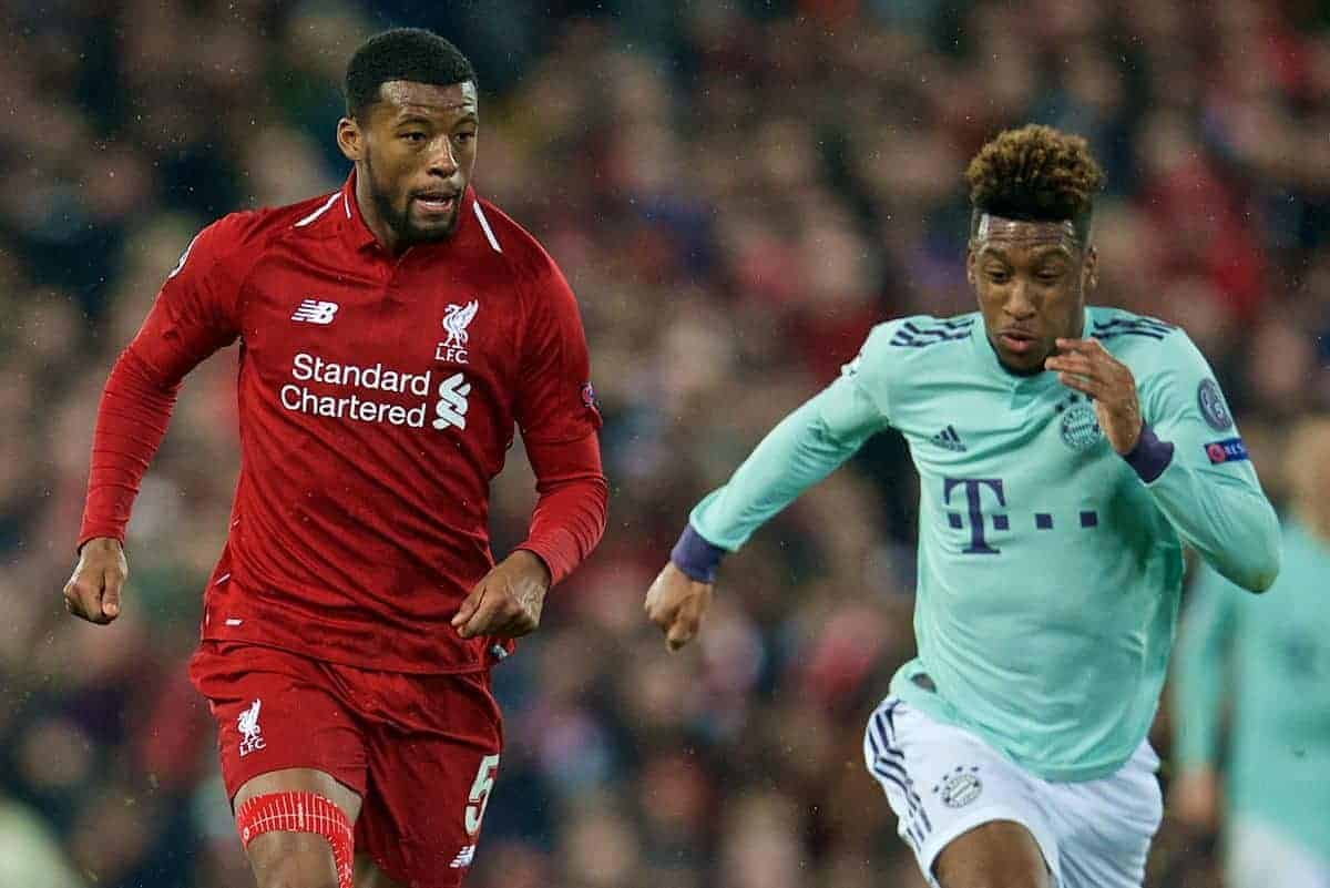 LIVERPOOL, ENGLAND - Tuesday, February 19, 2019: Liverpool's Georginio Wijnaldum (L) and FC Bayern Munich's Kingsley Coman during the UEFA Champions League Round of 16 1st Leg match between Liverpool FC and FC Bayern M¸nchen at Anfield. (Pic by David Rawcliffe/Propaganda)
