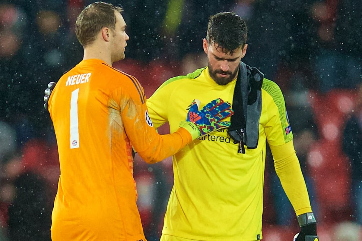 LIVERPOOL, ENGLAND - Tuesday, February 19, 2019: Liverpool's goalkeeper Alisson Becker (R) and FC Bayern Munich's goalkeeper Manuel Neuer after the UEFA Champions League Round of 16 1st Leg match between Liverpool FC and FC Bayern München at Anfield. The game ended in a 0-0 draw. (Pic by David Rawcliffe/Propaganda)