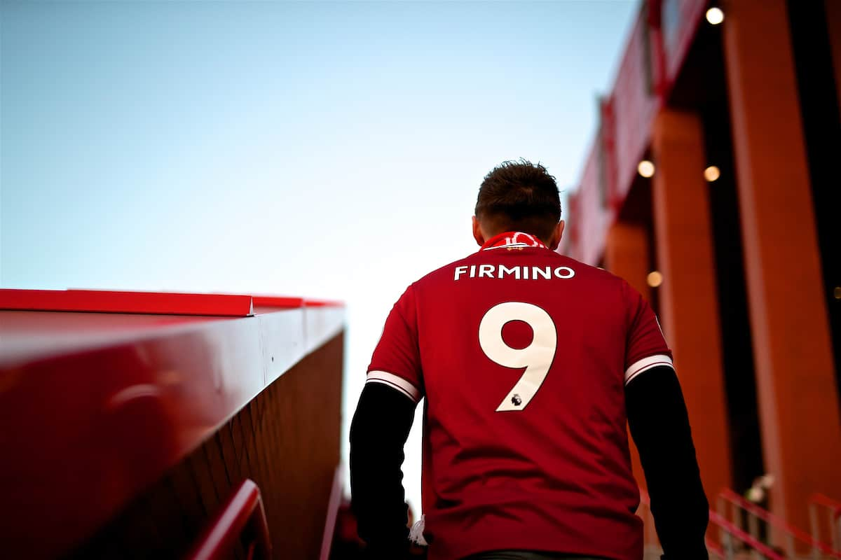 LIVERPOOL, ENGLAND - Wednesday, February 27, 2019: A Liverpool supporter wearing a shirt with Firmino 9 on the back walks up the stairs to the Main Stand before the FA Premier League match between Liverpool FC and Watford FC at Anfield. (Pic by Paul Greenwood/Propaganda)