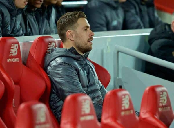 LIVERPOOL, ENGLAND - Wednesday, February 27, 2019: Liverpool's captain Jordan Henderson on the substitutes bench before the FA Premier League match between Liverpool FC and Watford FC at Anfield. (Pic by Paul Greenwood/Propaganda)