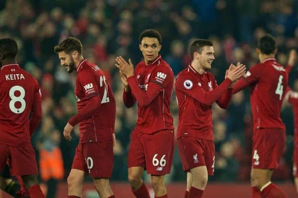 LIVERPOOL, ENGLAND - Wednesday, February 27, 2019: Liverpool's Trent Alexander-Arnold and Andy Robertson celebrate after the 5-0 victory during the FA Premier League match between Liverpool FC and Watford FC at Anfield. (Pic by Paul Greenwood/Propaganda)
