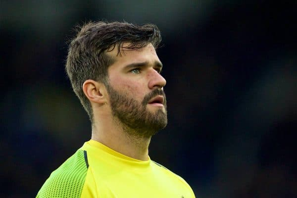 Liverpool's goalkeeper Alisson Becker during the FA Premier League match between Everton FC and Liverpool FC, the 233rd Merseyside Derby, at Goodison Park. (Pic by Laura Malkin/Propaganda)