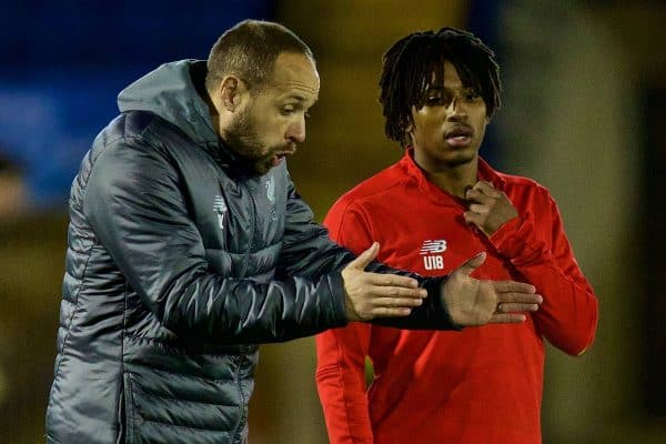 BURY, ENGLAND - Wednesday, March 6, 2019: Liverpool's Under-18 manager Barry Lewtas and Yasser Larouci before the FA Youth Cup Quarter-Final match between Bury FC and Liverpool FC at Gigg Lane. (Pic by David Rawcliffe/Propaganda)