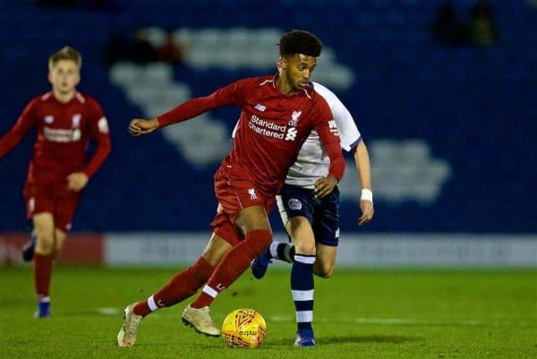 BURY, ENGLAND - Wednesday, March 6, 2019: Liverpool's Abdulrahman Sharif during the FA Youth Cup Quarter-Final match between Bury FC and Liverpool FC at Gigg Lane. (Pic by David Rawcliffe/Propaganda)