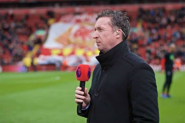 LIVERPOOL, ENGLAND - Sunday, March 31, 2019: Former Liverpool player Robbie Fowler working for Premier League television as a pundit before the FA Premier League match between Liverpool FC and Tottenham Hotspur FC at Anfield. (Pic by David Rawcliffe/Propaganda)