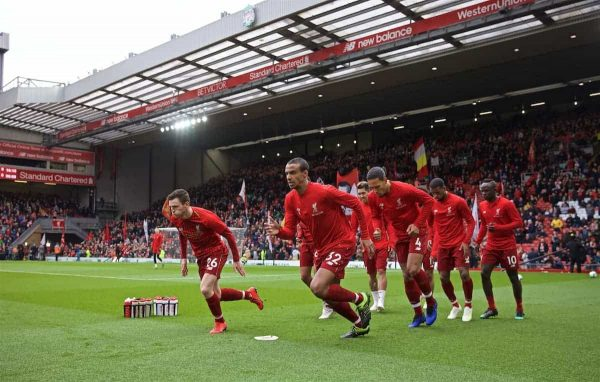 LIVERPOOL, ENGLAND - Sunday, March 31, 2019: Liverpool's Andy Robertson (L) and Joel Matip during the pre-match warm-up before the FA Premier League match between Liverpool FC and Tottenham Hotspur FC at Anfield. (Pic by David Rawcliffe/Propaganda)