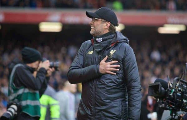 LIVERPOOL, ENGLAND - Sunday, March 31, 2019: Liverpool's manager J¸rgen Klopp gestures to his wife before the FA Premier League match between Liverpool FC and Tottenham Hotspur FC at Anfield. (Pic by David Rawcliffe/Propaganda)