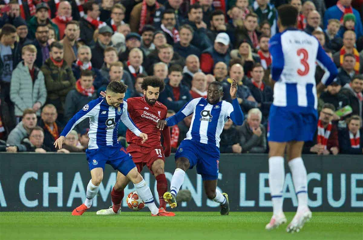 Liverpool's Mohamed Salah during the UEFA Champions League Quarter-Final 1st Leg match between Liverpool FC and FC Porto at Anfield. (Pic by David Rawcliffe/Propaganda)
