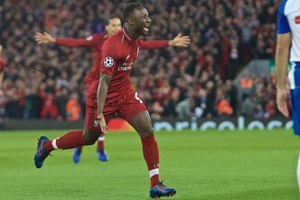 LIVERPOOL, ENGLAND - Tuesday, April 9, 2019: Liverpool's Naby Keita celebrates scoring the first goal during the UEFA Champions League Quarter-Final 1st Leg match between Liverpool FC and FC Porto at Anfield. (Pic by David Rawcliffe/Propaganda)