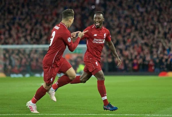 LIVERPOOL, ENGLAND - Tuesday, April 9, 2019: Liverpool's Naby Keita celebrates scoring the first goal with team-mate Roberto Firmino during the UEFA Champions League Quarter-Final 1st Leg match between Liverpool FC and FC Porto at Anfield. (Pic by David Rawcliffe/Propaganda)