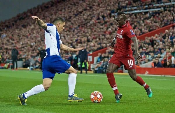LIVERPOOL, ENGLAND - Tuesday, April 9, 2019: Liverpool's Sadio Mane during the UEFA Champions League Quarter-Final 1st Leg match between Liverpool FC and FC Porto at Anfield. (Pic by David Rawcliffe/Propaganda)