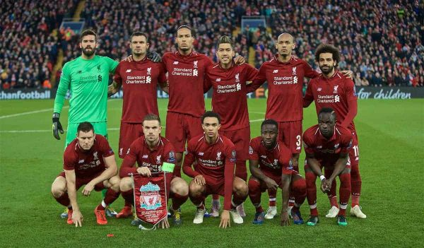 LIVERPOOL, ENGLAND - Tuesday, April 9, 2019: Liverpool's players line-up for a team group photograph before the UEFA Champions League Quarter-Final 1st Leg match between Liverpool FC and FC Porto at Anfield. Back row L-R: goalkeeper Alisson Becker, Dejan Lovren, Virgil van Dijk, Roberto Firmino, Joel Matip, Mohamed Salah. Front row L-R: James Milner, captain Jordan Henderson, Trent Alexander-Arnold, Naby Keita, Sadio Mane. (Pic by David Rawcliffe/Propaganda)
