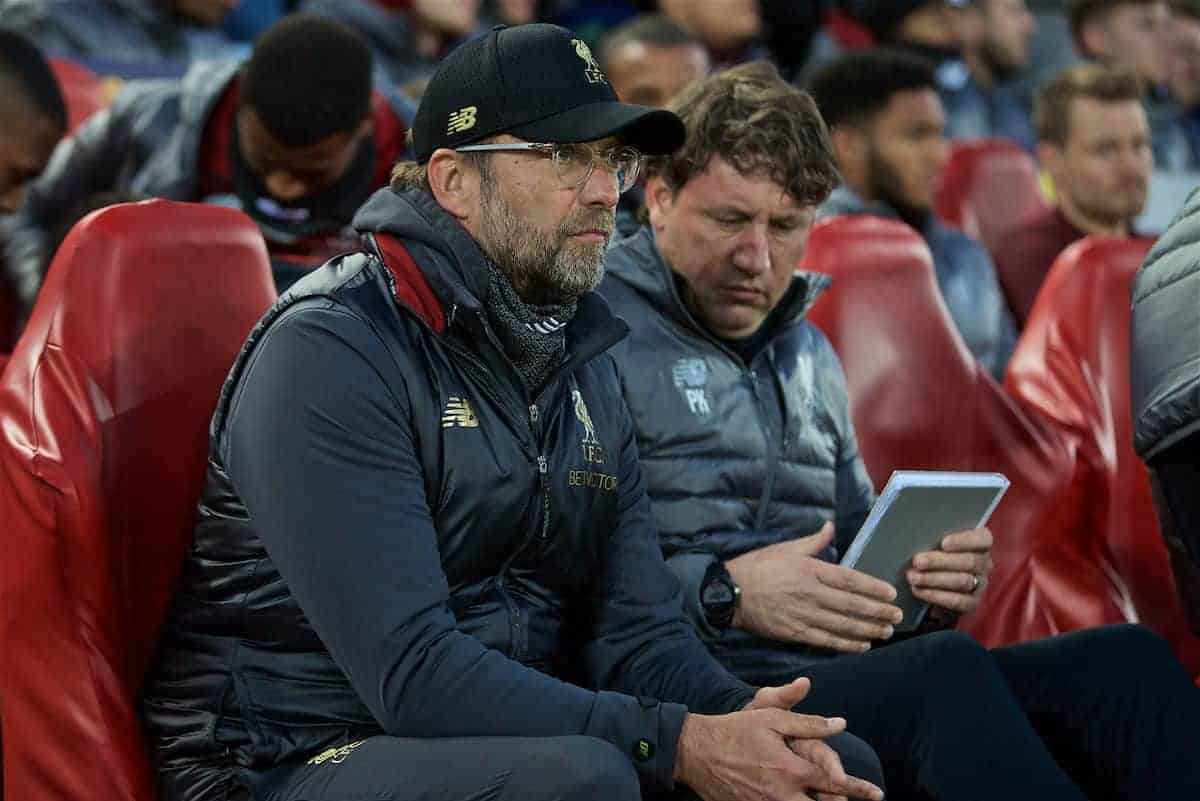 LIVERPOOL, ENGLAND - Tuesday, April 9, 2019: Liverpool's manager Jürgen Klopp before the UEFA Champions League Quarter-Final 1st Leg match between Liverpool FC and FC Porto at Anfield. (Pic by David Rawcliffe/Propaganda)