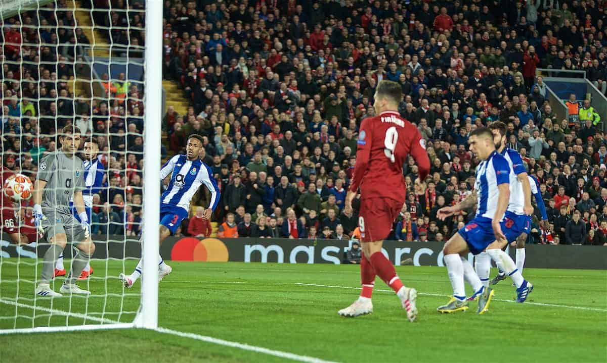 LIVERPOOL, ENGLAND - Tuesday, April 9, 2019: Liverpool's Roberto Firmino scores the second goal during the UEFA Champions League Quarter-Final 1st Leg match between Liverpool FC and FC Porto at Anfield. (Pic by David Rawcliffe/Propaganda)