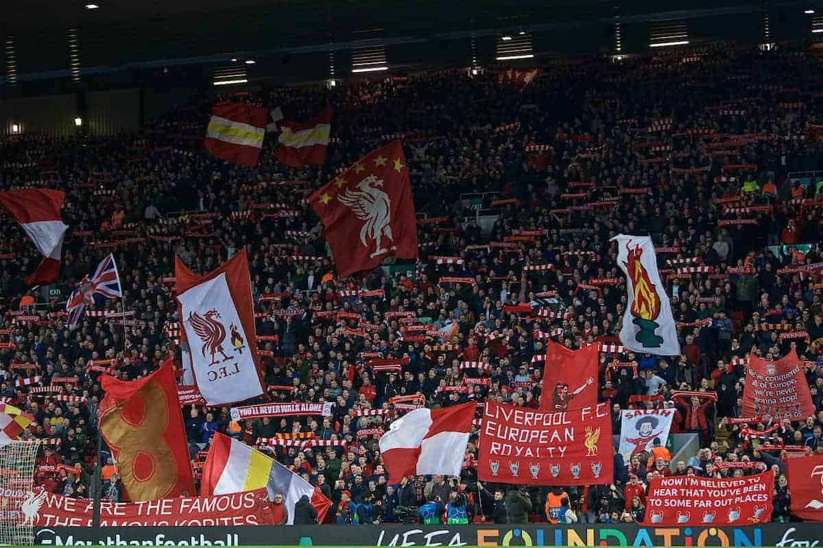 LIVERPOOL, ENGLAND - Tuesday, April 9, 2019: Liverpool's supporters before the UEFA Champions League Quarter-Final 1st Leg match between Liverpool FC and FC Porto at Anfield. (Pic by David Rawcliffe/Propaganda)