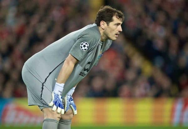 LIVERPOOL, ENGLAND - Tuesday, April 9, 2019: FC Porto's goalkeeper Iker Casillas during the UEFA Champions League Quarter-Final 1st Leg match between Liverpool FC and FC Porto at Anfield. (Pic by David Rawcliffe/Propaganda)