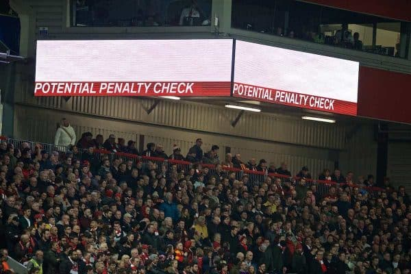 LIVERPOOL, ENGLAND - Tuesday, April 9, 2019: The VAR check for a potential penalty is broadcast on the scoreboard during the UEFA Champions League Quarter-Final 1st Leg match between Liverpool FC and FC Porto at Anfield. (Pic by David Rawcliffe/Propaganda)