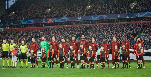 LIVERPOOL, ENGLAND - Tuesday, April 9, 2019: Liverpool players line-up before the UEFA Champions League Quarter-Final 1st Leg match between Liverpool FC and FC Porto at Anfield. (Pic by David Rawcliffe/Propaganda)