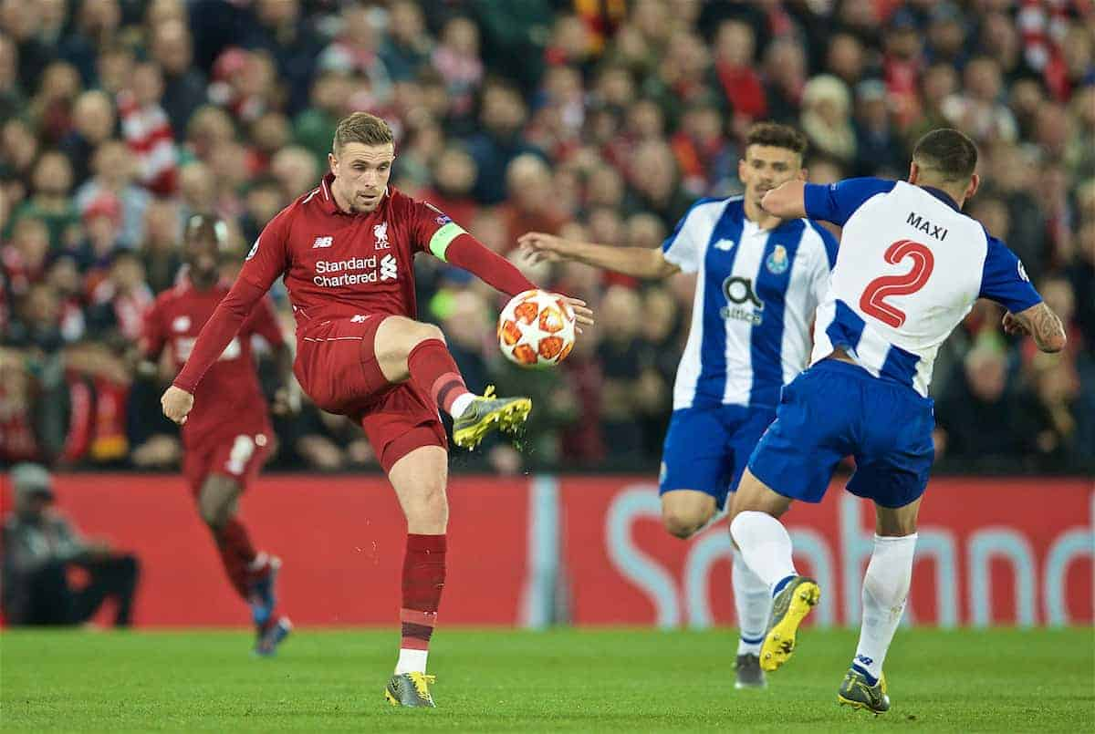 LIVERPOOL, ENGLAND - Tuesday, April 9, 2019: Liverpool's captain Jordan Henderson during the UEFA Champions League Quarter-Final 1st Leg match between Liverpool FC and FC Porto at Anfield. (Pic by David Rawcliffe/Propaganda)