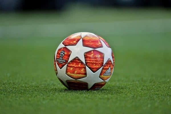 MANCHESTER, ENGLAND - Thursday, April 11, 2019: The official Adidas Champions League match-ball during the UEFA Champions League Quarter-Final 1st Leg match between Manchester United FC and FC Barcelona at Old Trafford. (Pic by David Rawcliffe/Propaganda)