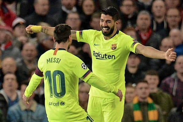 MANCHESTER, ENGLAND - Thursday, April 11, 2019: Barcelona's Luis Alberto Suarez Diaz celebrates with team-mate captain Lionel Messi after the only goal of the game, a Manchester United own-goal, during the UEFA Champions League Quarter-Final 1st Leg match between Manchester United FC and FC Barcelona at Old Trafford. Barcelona won 1-0. (Pic by David Rawcliffe/Propaganda)