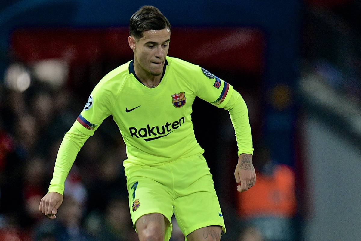 MANCHESTER, ENGLAND - Thursday, April 11, 2019: Barcelona's Philippe Coutinho during the UEFA Champions League Quarter-Final 1st Leg match between Manchester United FC and FC Barcelona at Old Trafford. Barcelona won 1-0. (Pic by David Rawcliffe/Propaganda)