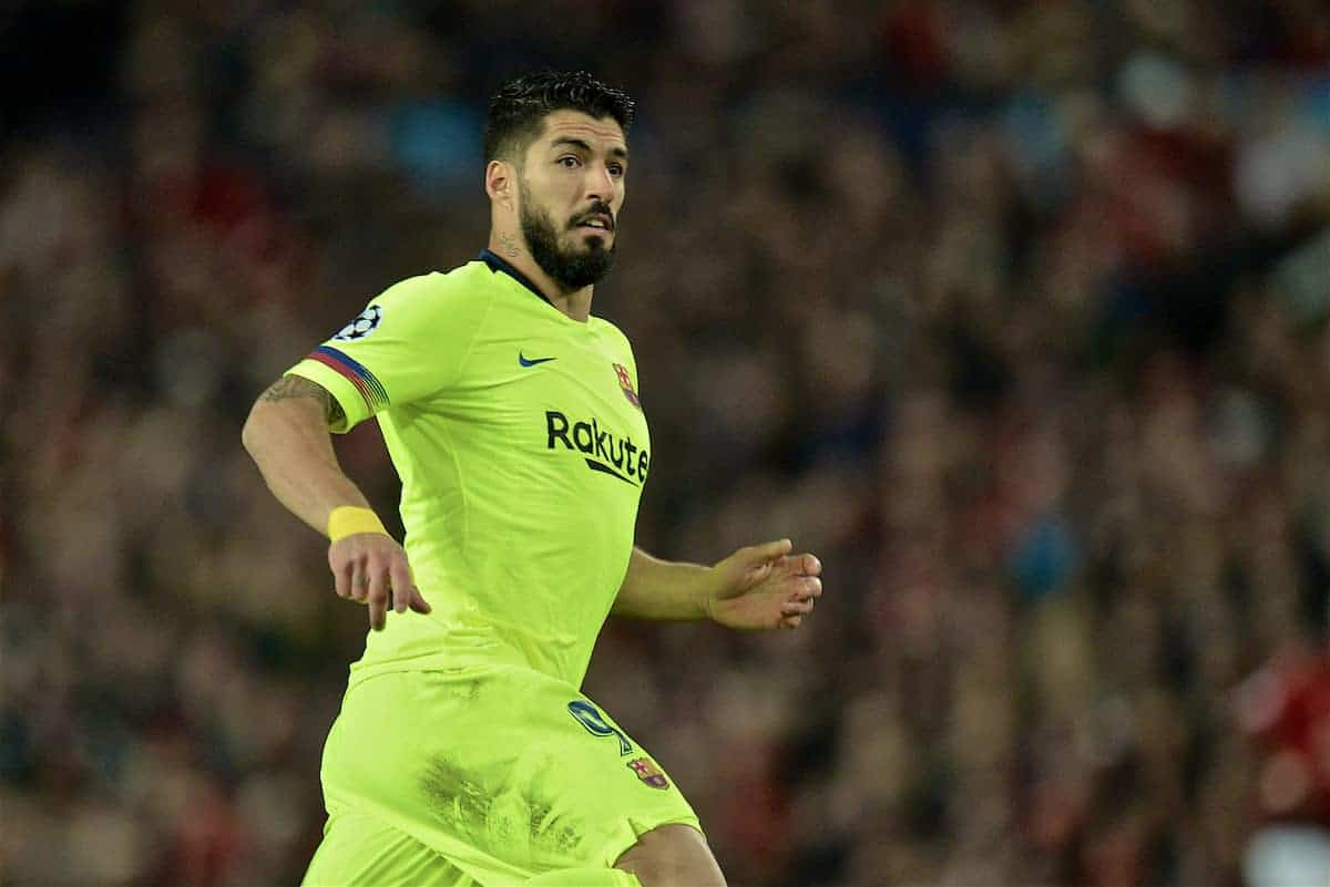 MANCHESTER, ENGLAND - Thursday, April 11, 2019: Barcelona's Luis Alberto Suarez Diaz during the UEFA Champions League Quarter-Final 1st Leg match between Manchester United FC and FC Barcelona at Old Trafford. Barcelona won 1-0. (Pic by David Rawcliffe/Propaganda)