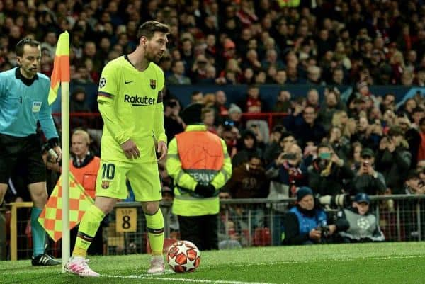 MANCHESTER, ENGLAND - Thursday, April 11, 2019: Barcelona's captain Lionel Messi prepares to take a corner-kick during the UEFA Champions League Quarter-Final 1st Leg match between Manchester United FC and FC Barcelona at Old Trafford. Barcelona won 1-0. (Pic by David Rawcliffe/Propaganda)