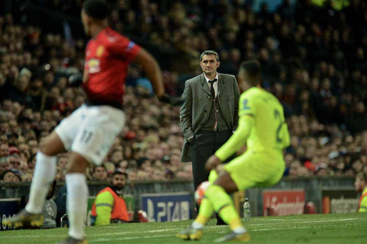MANCHESTER, ENGLAND - Thursday, April 11, 2019: Barcelonas head coach Ernesto Valverde during the UEFA Champions League Quarter-Final 1st Leg match between Manchester United FC and FC Barcelona at Old Trafford. Barcelona won 1-0. (Pic by David Rawcliffe/Propaganda)