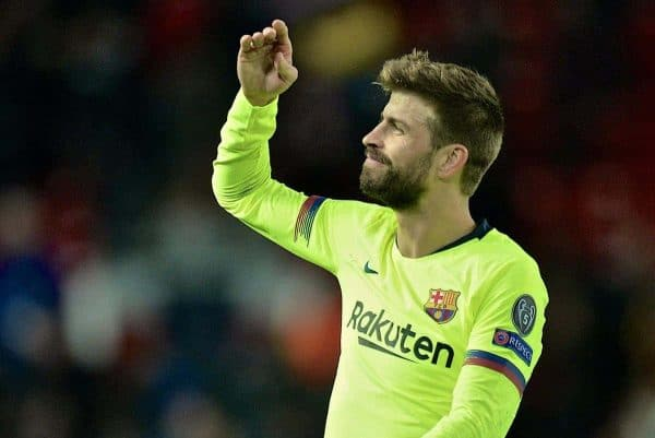 MANCHESTER, ENGLAND - Thursday, April 11, 2019: Barcelona's Gerard Piqué celebrates after the UEFA Champions League Quarter-Final 1st Leg match between Manchester United FC and FC Barcelona at Old Trafford. Barcelona won 1-0. (Pic by David Rawcliffe/Propaganda)