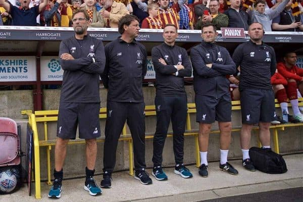 BRADFORD, ENGLAND - Saturday, July 13, 2019: Liverpool's manager Jürgen Klopp with his staff assistant manager Peter Krawietz, first-team development coach Pepijn Lijnders, goalkeeping coach John Achterberg and head of medical services Andrew Massey before a pre-season friendly match between Bradford City AFC and Liverpool FC at Valley Parade. (Pic by David Rawcliffe/Propaganda)