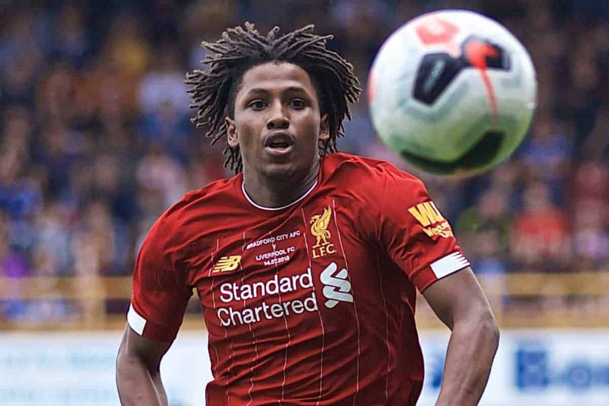 BRADFORD, ENGLAND - Saturday, July 13, 2019: Liverpool's Yasser Larouci during a pre-season friendly match between Bradford City AFC and Liverpool FC at Valley Parade. (Pic by David Rawcliffe/Propaganda)