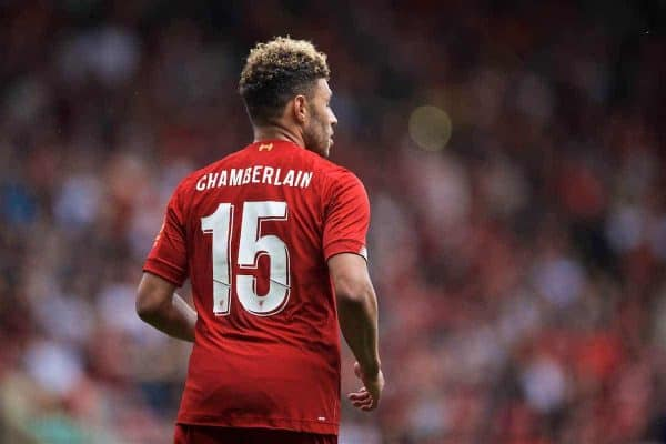 BRADFORD, ENGLAND - Saturday, July 13, 2019: Liverpool's Alex Oxlade-Chamberlain takes over the number 15 shirt from Daniel Sturridge during a pre-season friendly match between Bradford City AFC and Liverpool FC at Valley Parade. (Pic by David Rawcliffe/Propaganda)