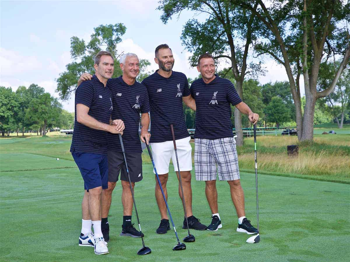SOUTH BEND, INDIANA, USA - Wednesday, July 17, 2019: Liverpool's club Ambassadors (L-R) Jason McAteer, Ian Rush, Patrick Berger and Vladimír Šmicer at the Warren Golf Club at Notre Dame University on day two of the club's pre-season tour of America. (Pic by David Rawcliffe/Propaganda)
