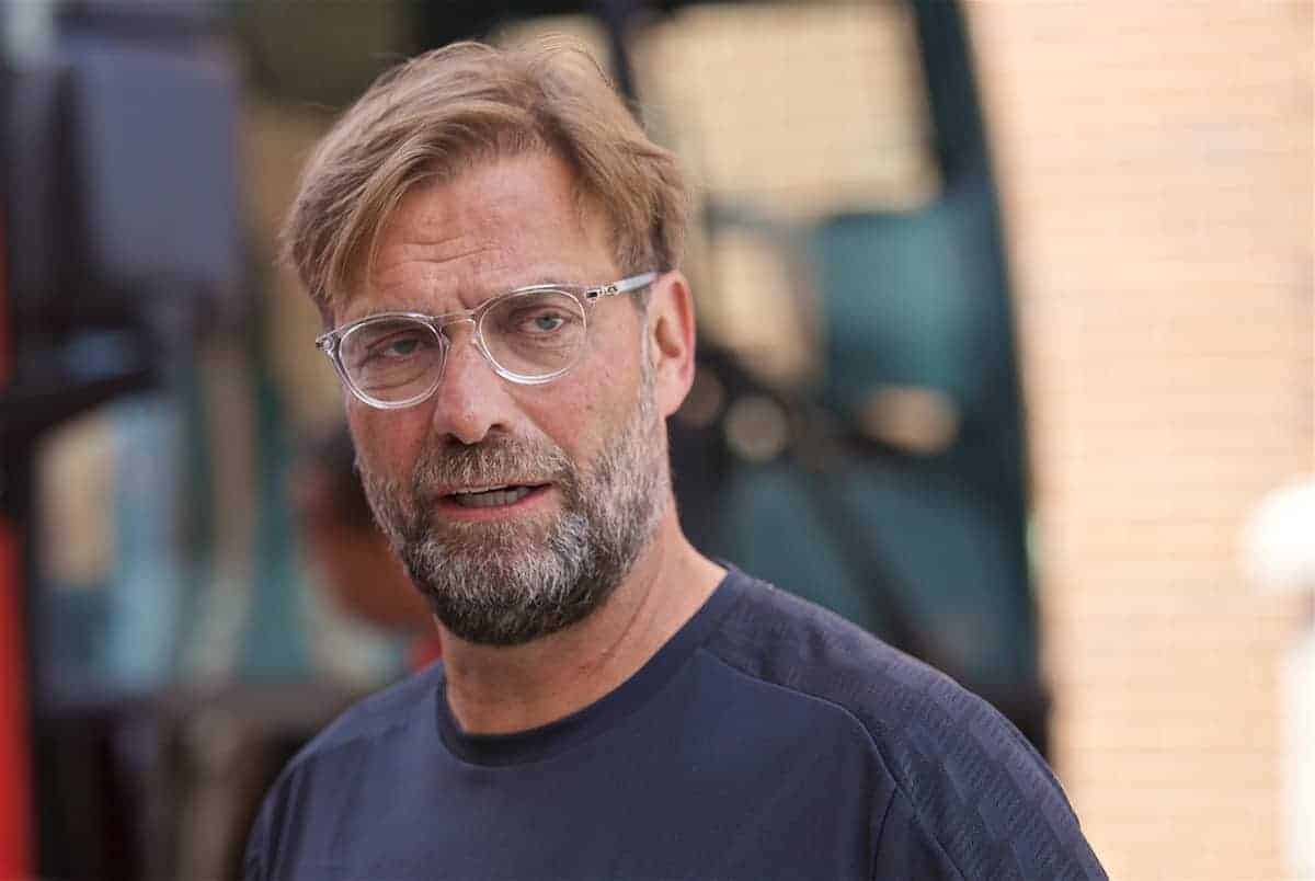 SOUTH BEND, INDIANA, USA - Wednesday, July 17, 2019: Liverpool's manager Jürgen Klopp leaves the team hotel as the squad head for a second training session on day two of the club's pre-season tour of America. (Pic by David Rawcliffe/Propaganda)