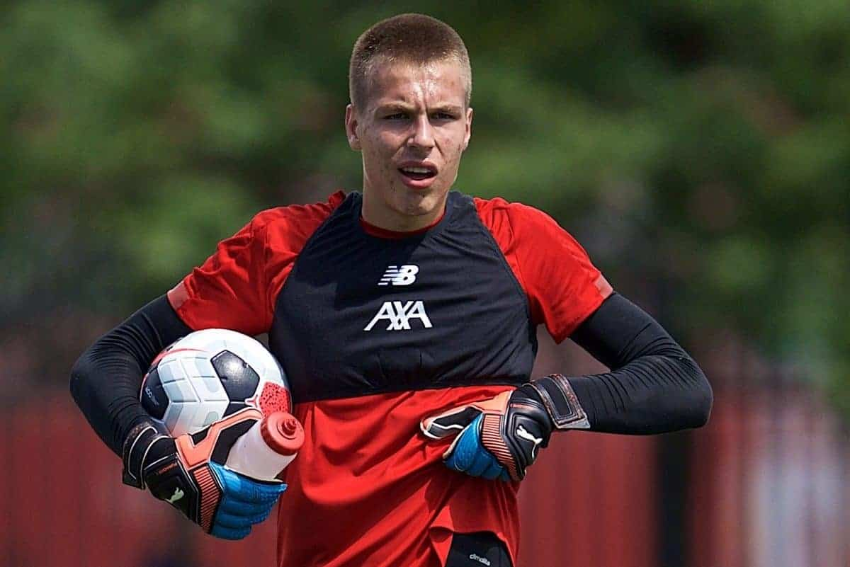 SOUTH BEND, INDIANA, USA - Thursday, July 18, 2019: Liverpool's goalkeeper Jakub Ojrzynski during a training session ahead of the friendly match against Borussia Dortmund at the Notre Dame Stadium on day three of the club's pre-season tour of America. (Pic by David Rawcliffe/Propaganda)