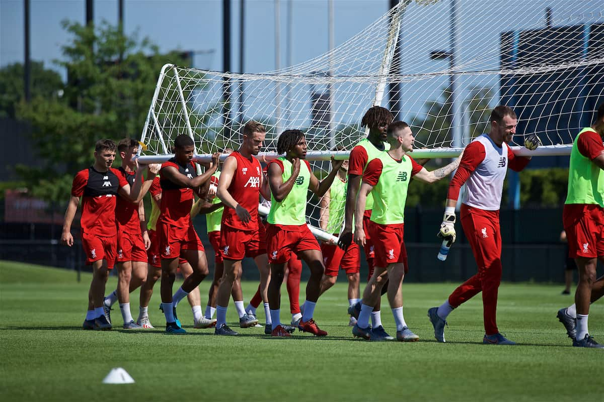SOUTH BEND, INDIANA, USA - Thursday, July 18, 2019: Liverpool players carry a goal during a training session ahead of the friendly match against Borussia Dortmund at the Notre Dame Stadium on day three of the club's pre-season tour of America. Bobby Duncan, Rhian Brewster, Alex Oxlade-Chamberlain, Yasser Larouci, Divock Origi, Ryan Kent, goalkeeper Andy Lonergan. (Pic by David Rawcliffe/Propaganda)