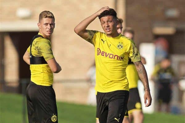 SOUTH BEND, INDIANA, USA - Thursday, July 18, 2019: Borussia Dortmund's Jadon Sancho during a training session ahead of the friendly match against Liverpool at the Notre Dame Stadium on day three of the club's pre-season tour of America. (Pic by David Rawcliffe/Propaganda)