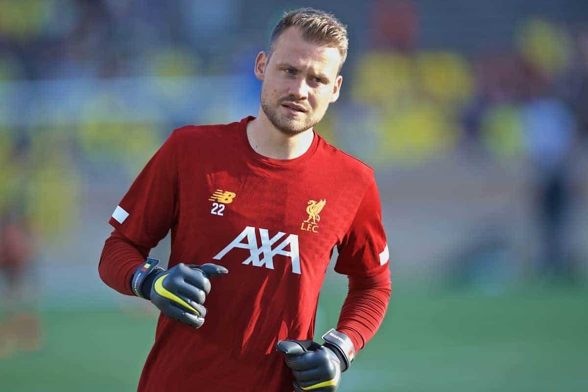 SOUTH BEND, INDIANA, USA - Friday, July 19, 2019: Liverpool's goalkeeper Simon Mignolet during the pre-match warm-up before a friendly match between Liverpool FC and Borussia Dortmund at the Notre Dame Stadium on day four of the club's pre-season tour of America. (Pic by David Rawcliffe/Propaganda)